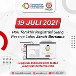 Batas Akhir Registrasi Ulang Jarvis Bersama, Hari Ini!